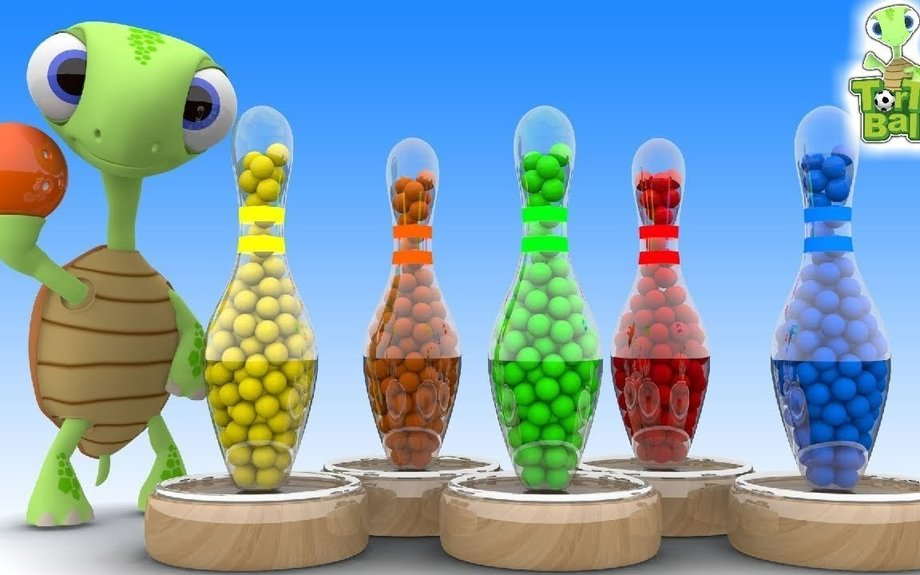 BOWLING BALLS Turtles With Glass Bowling Learn Colors For Children and Kids | Torto Ball