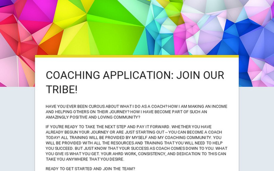 COACHING APPLICATION: JOIN OUR TRIBE!