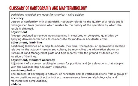 GLOSSARY OF CARTOGRAPHY AND MAP TERMINOLOGY
