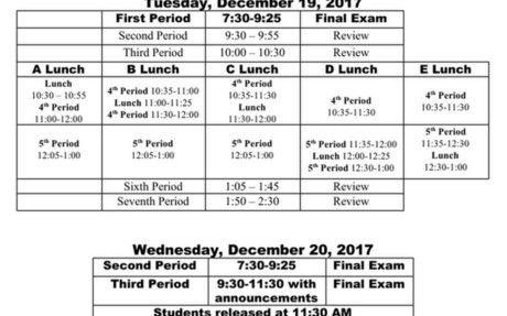 Final Exam Schedule 2017-2018