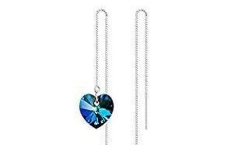 Amazon.com: Ladies 925 Sterling Silver Blue Swarovski Crystal Heart of Ocean Long Earrings