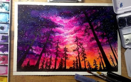 Night Sky - Speed Painting [Watercolor & Gouache]