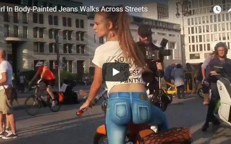 OMG!! Girl In Body-Painted Jeans Walks Across Streets | GoodPva
