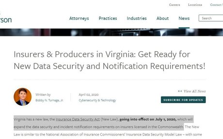 Insurers in Virginia: New Data Security and Notification Requirements