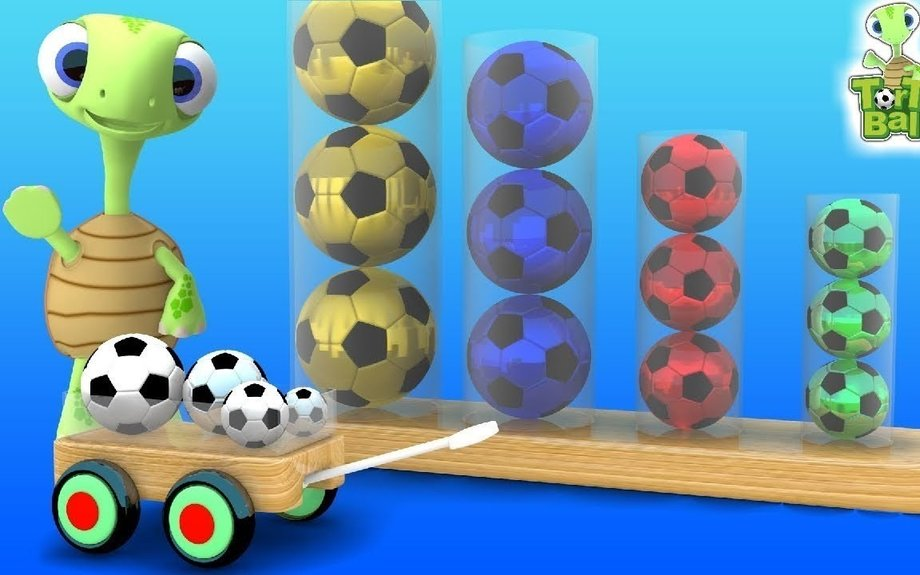 SOCCER BALLS Turtles Learn Color With Glass Tube For Children and Kids | Torto Ball