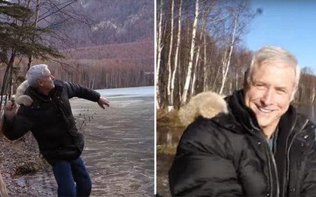 He Skipped A Rock Onto A Frozen Alaskan Pond, The Wild Sound Blew Him Away!