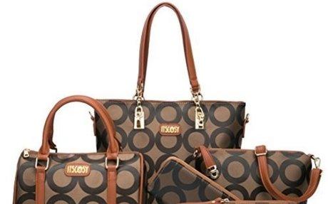 Womens 6 Pcs Shoulder Bags Top-Handle Handbag Tote Purse Set $39.90