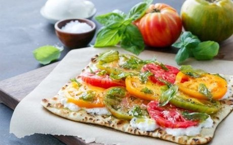 Heirloom Tomato Flatbread with Fried Basil | Love and Olive Oil