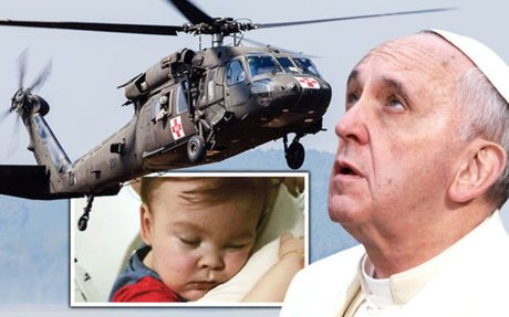 Alfie Evans latest: Pope puts MILITARY HELICOPTER on standby to rush sick toddler to Italy