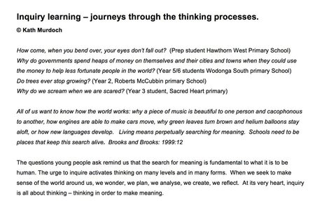 Inquiry Learning:  Journey through the thinking process