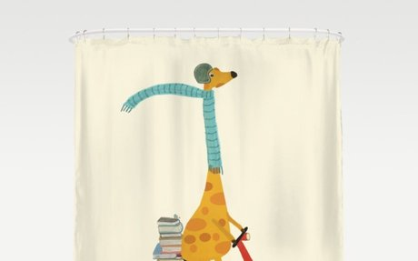 Giraffe on a Moped Shower Curtain