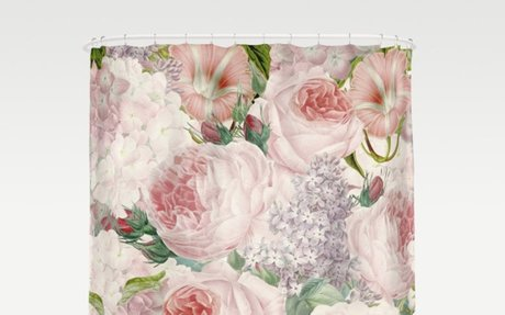 Vintage Roses and Lilacs Pattern - Smelling Dreams- Floral Fabric Shower Curtain