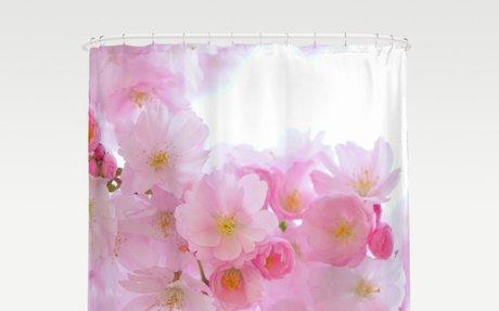 Pink Japanese Cherry Tree Blossom Shower Curtain
