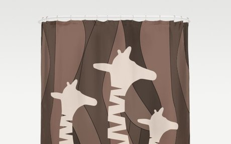 Abstract Giraffe Family Shower Curtain in browns