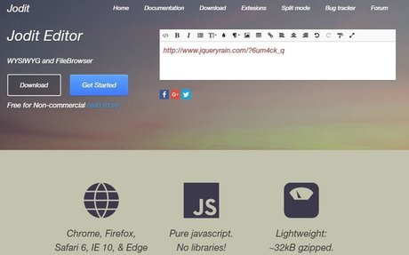 jQuery Rain | Jodit WYSIWYG editor | Pure JavaScript | FileBrowser and Editor Jodit