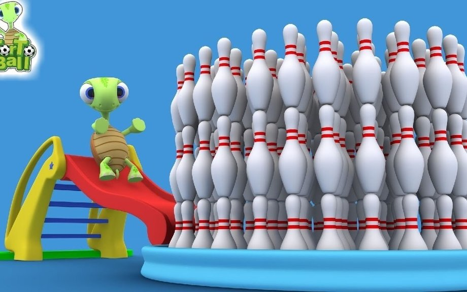 LEARN BALLS  - Turtle Slump in Bowling Pool For Children and Kids | Torto Ball