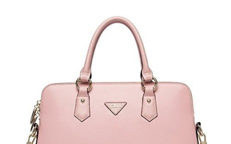 Cluci Women's Cow Leather Handbags Briefcase Purse Shoulder Bags Tote Bags Pink $63.98
