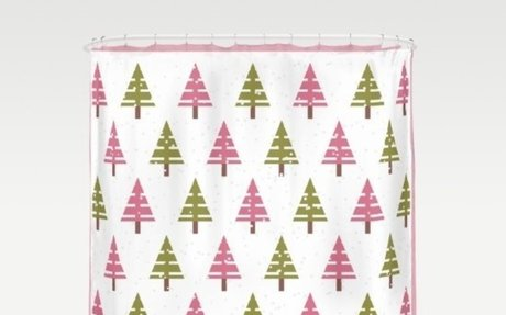 Retro pink and Green Christmas tree shower curtain