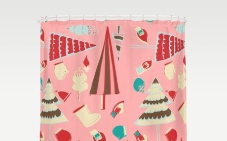 Vintage Christmas Pink Shower Curtain