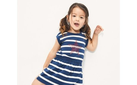 Gap女婴幼童 夏季新款儿童纯棉印花收腰短袖连衣裙 732387