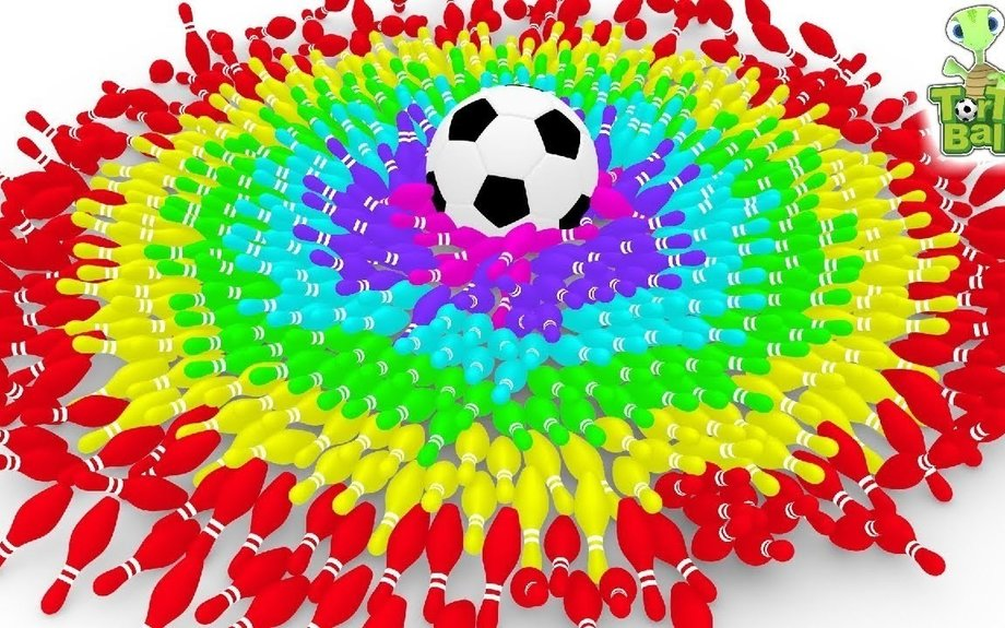 BOWLING BALLS Turtles With Soccer Ball the Best kick | Learn Colors For Children and Kids