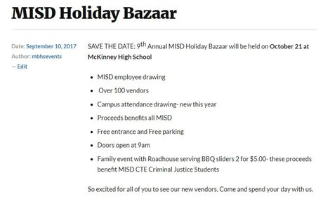 MISD Holiday Bazaar