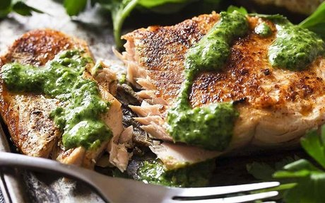 Crispy Seared Salmon w/ Green Sauce