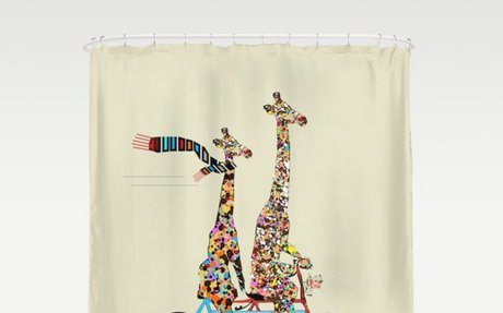 Bicycle built for two - giraffe shower curtain