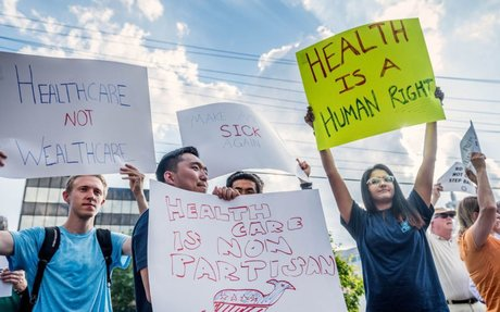 Demonstrators demand that Sen. Burr hold town hall on health care bill