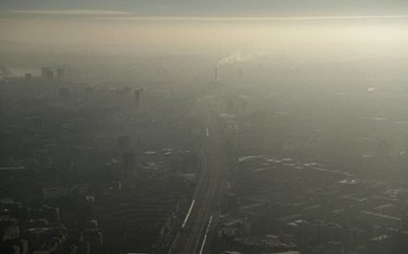 Shocking images taken from The Shard show a haze of smog over London