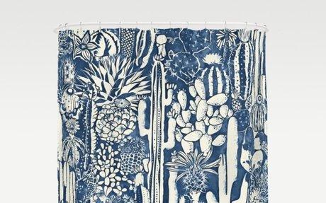 Indigo cacti Shower Curtain