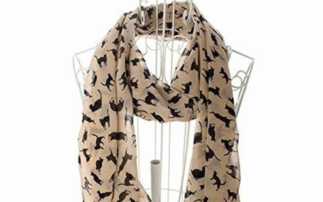 Amazon.com: JOVANAS FASHION Ladies Scarf Shawls Cat Print Scraves 100% Chiffon Wrap (Beige