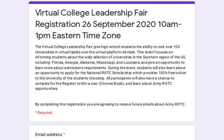 Virtual College Leadership Fair Registration Sept 26, 2020 10am-1pm EST