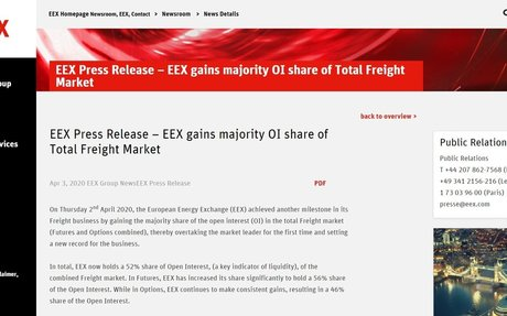 EEX gains majority OI share of Total Freight Market