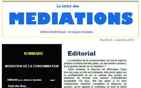 PUBLICATION DU NUMÉRO 6 DE LA LETTRE DES MÉDIATIONS : MÉDIATION DE LA CONSOMMATION DANS LE