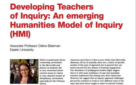 Developing teachers of Inquiry:  An emerging Humanities Model of Inquiry (HMI)