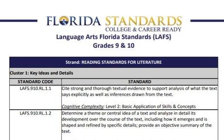 Florida Standards: Language Arts Florida Standards (LAFS)