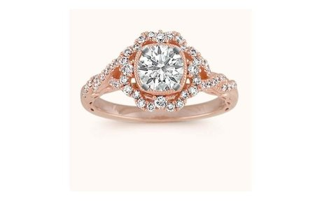 Shane Co. Halo Vintage Round Diamond Engagement Ring in 14k Rose Gold