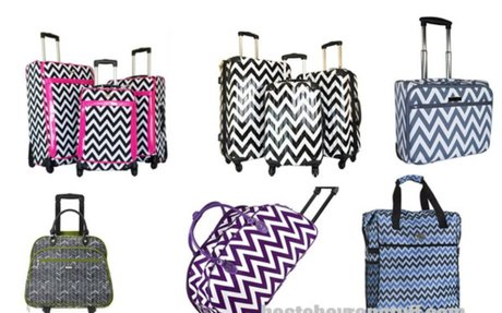 Fun Chevron Rolling Luggage Sets - Hardcase or Soft Sided - Tackk