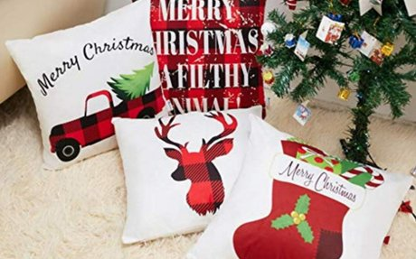 Amazon.com: Anickal Christmas Decorations Christmas Red and Black Buffalo Check Velvet Pil