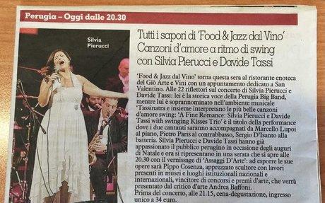 """Tutti i sapori di """"Food & Jazz dal Vino"""" Canzoni d'amore a ritmo di swing con Silvia Pieru"""