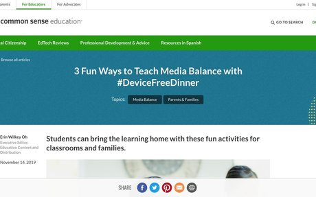 3 Fun Ways to Teach Media Balance with #DeviceFreeDinner | Common Sense Education