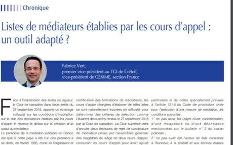 «Listes de médiateurs établies par les cours d'appel : un outil adapté ?» par Fabrice Ve