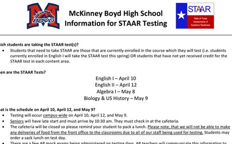 STAAR Testing Important Information 2018