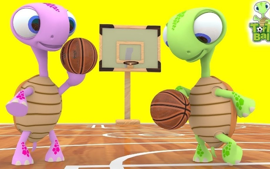 BASKET BALLS Turtle To DRIBBLE A BASKETBALL Between The Legs For Children and Kids | Torto