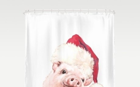Christmas Pink Pig Shower Curtain