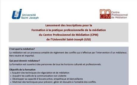 formation à la pratique professionnelle de la médiation à l'université Saint-Joseph