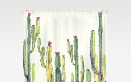 vertical cactus Shower Curtain