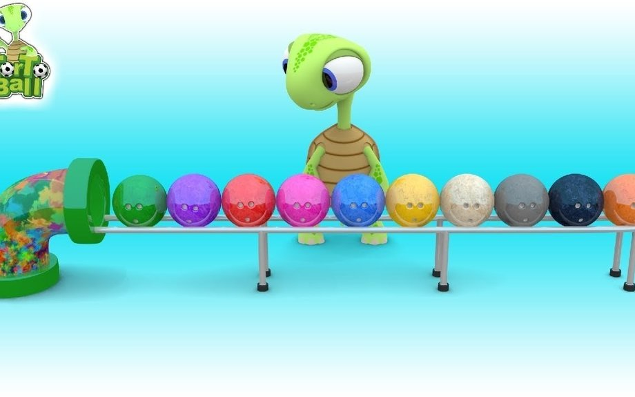BOWLING BALLS Learn Color Funny Turtle For Children and Kids | Torto Ball