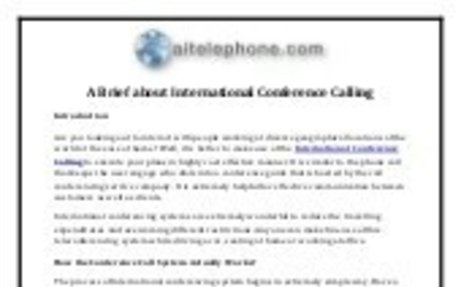 A Brief about International Conference Calling